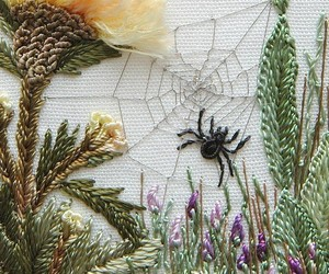 embroidery, flowers, and spider image