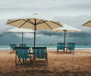 beach, greysky, and clouds image
