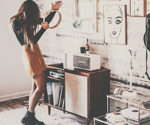 girl, music, and room image