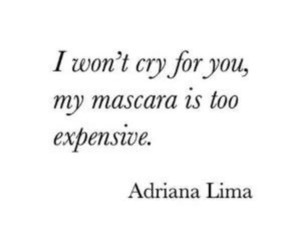 mascara, Adriana Lima, and cry image