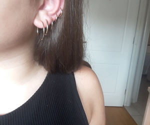 circles, earrings, and gold image