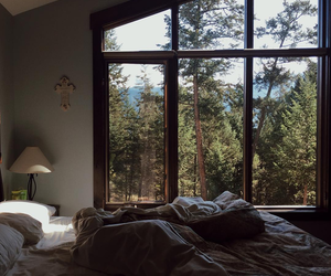 bed, home, and window image