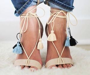 casual, girl, and sandals image