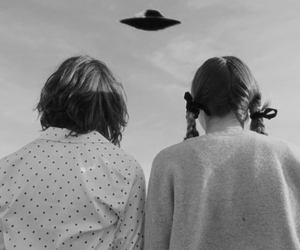 alien, girl, and ufo image