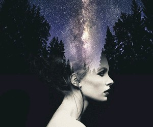 galaxy, girl, and stars image