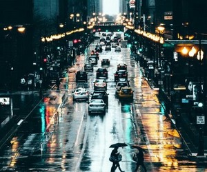 city, light, and rain image