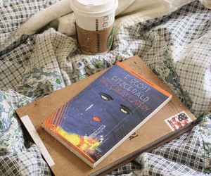 book, coffee, and the great gatsby image