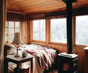 bed, cabin, and cozy image