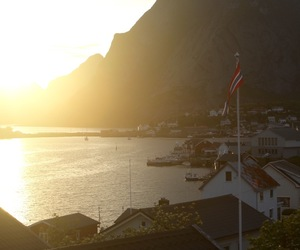 sunset, travel, and lofoten image