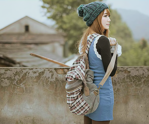 asian, bag, and beanie image