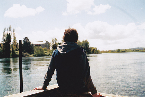 boy, photography, and lake image
