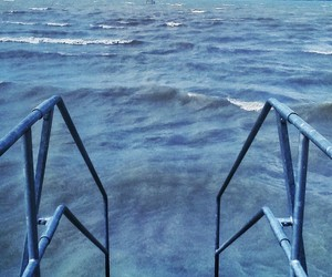 blue, landing stage, and water image