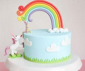 unicorn, cake, and rainbow image