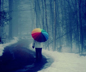 rainbow, umbrella, and snow image