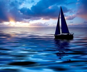 sea, blue, and boat image