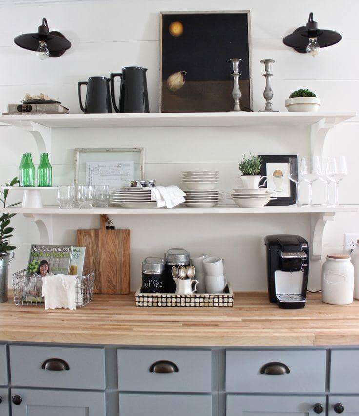 home decor, kitchen, and open-shelving image