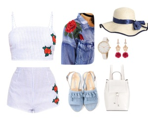 outfit, pastel blue, and Polyvore image