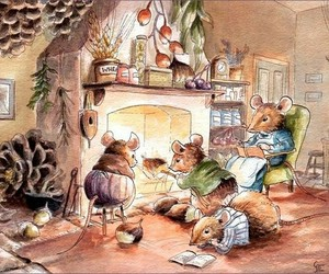 books, fireplace, and mice image