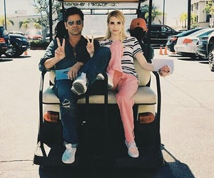 scream queens, emma roberts, and john stamos image
