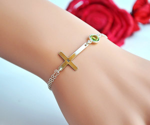 etsy, personalized, and cross charm bracelet image