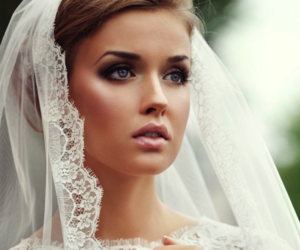 boho chic wedding dresses, bridal nude makeup, and wedding stylist london image