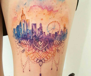 tattoo, city, and colors image
