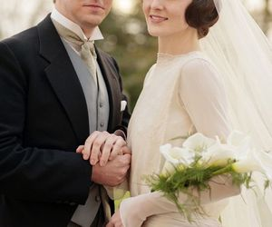 downton abbey, mary, and Matthew image