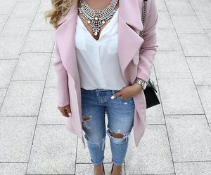 coat, jeans, and pink image