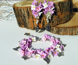 butterflies, jewelry set, and charm bracelet image