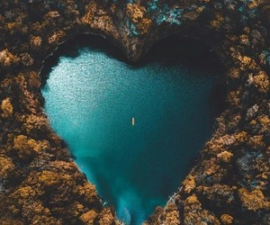 nature, heart, and lake image
