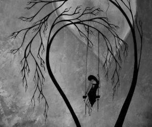 alone, moon, and sad image