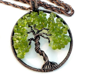 tree of life necklace, august birthstone jewelry, and green pendant image