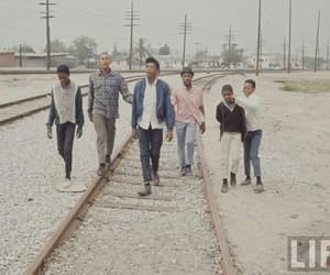 black, railroad tracks, and los angeles image