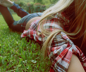 girl, grass, and blonde image