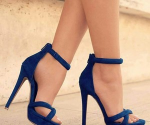 beautiful, navy blue, and high heels image
