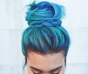 blue hair, cool, and hairstyle image