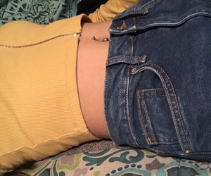 belly, high waist, and jeans image