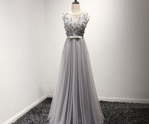 evening dress, long dresses, and grey dress image