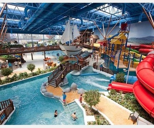 water park, water slide, and waterpark image