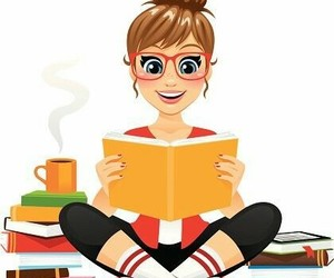 books, cup, and read image