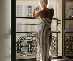 blonde, window, and dress image