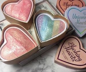 makeup, rainbow, and heart image