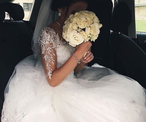 wedding, flowers, and bride image