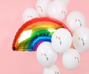 unicorn, flowers, and rainbow image