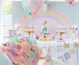 unicorn, rainbow, and cake image