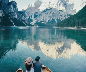 boat, mountains, and nature image