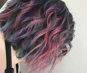 beauty, layers, and blue hair image