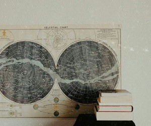 books, map, and stars image