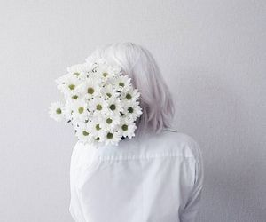 flowers, women, and white image