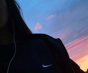 nike, girl, and sunset image